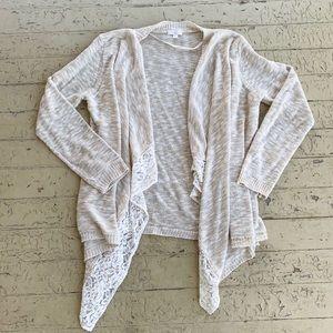 CC 1X cream beige marled cardigan white lace